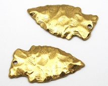 Large Brass Arrowhead Pendants (2X) (M650-A)