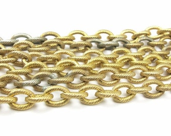 Vintage Gold Plated on Steel Candy Cane Textured Cable Chain (3 Feet) (C527)