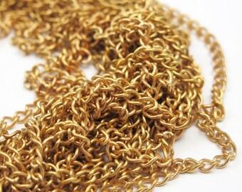 Vintage Brass Curb Chain - soldered (12 Feet -randomly cuts) (C552-B) 25% DISCOUNT