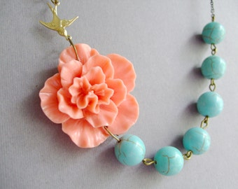 Coral Flower Necklace,Coral Floral Necklace,Coral Necklace,Turquoise Necklace,Bridesmaid Necklace,Bridesmaid Gift,Wedding Jewelry Set,Gift