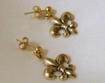 Gold Fleur De Lis Post Earrings