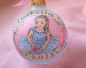 Little Ballerina Ornament, Original Handpainted Personalized Ornament