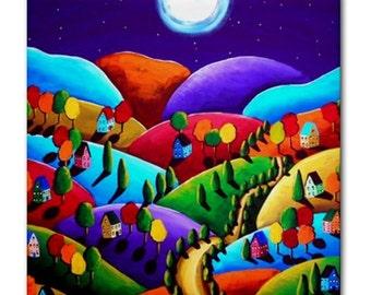 Peace on Earth Landscape 3 Moon Colorful Whimsical Folk Art Ceramic Tile