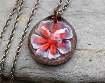 Glass Flower Pendant Borosilicate Boro Lampwork Blue, White, Red, Water Lily