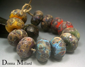 HANDMADE LAMPWORK GLASS Bead Set Donna Millard rustic relic assemblage orange green black yellow autumn fall
