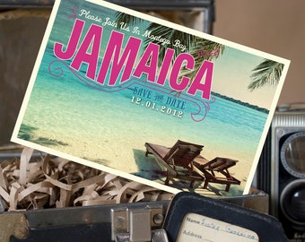 Vintage Postcard Save the Date (Jamaica) - Design Fee