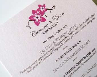 100 Sweet Blossoms Menu Cards