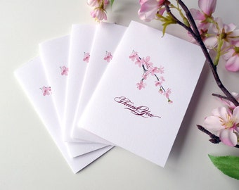 Simple Cherry Blossoms Thank You Cards with Envelopes