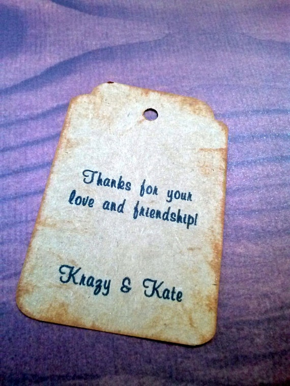Personalized, 50 Wedding Tags, Vintage Appearance, Personalized Tags
