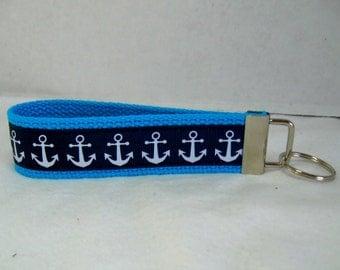 Anchors Key Fob -TURQUOISE Navy Key Chain - Nautical Keychain - Anchors Large Key Chain