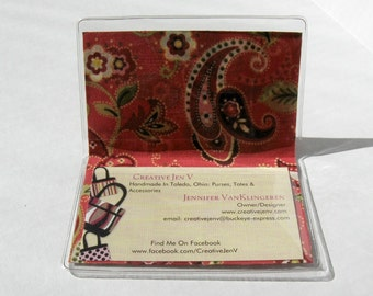 Business Card Holder Paisley Coral Mini Wallet