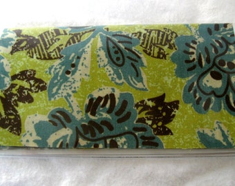 Checkbook Cover Floral Teal Olive Cash Holder Works with Duplicate Checks