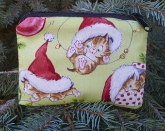 Christmas cat coin purse, credit card pouch, stitch marker pouch, Cute Christmas Kitties, The Raven