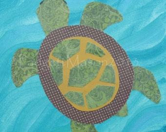 Turtle Collage painting by Padgett Mason