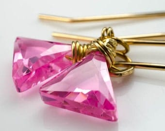 Pink Cubic Zirconium CZ Trillian Gold Earrings