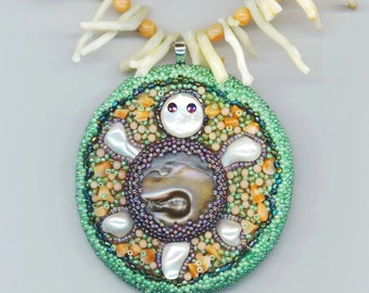 Embroidered Turtle Pendant  . White& Pink Coral Branches Necklace . Embroidery . Beadwoven Pendant  - Turtle Story by enchantedbeads on Etsy
