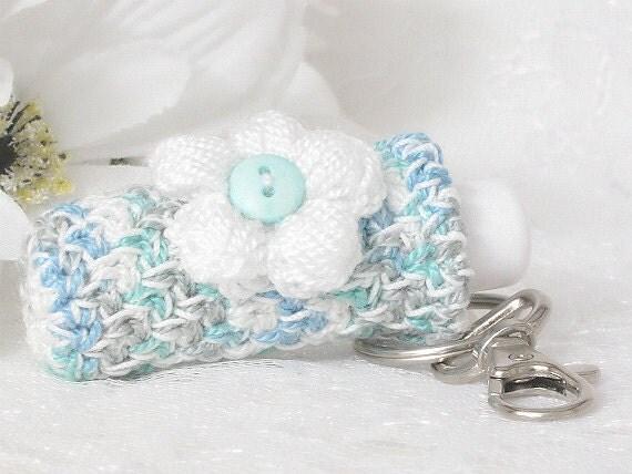 Lip balm keychain holder plush crochet key fob blue teal white