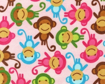 Ann Kelle, Urban Zoologie Monkeys Sweet Pink FLANNEL Fabric - REMNANT Size 24 Inches by 42 Inches