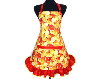 Oranges and Grapefruits Retro Kitchen apron for women, Citrus Fruit Kitchen decor, Ruffled, Adjustable with Pocket