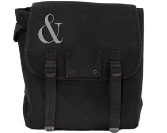 Ampersand Backpack, Canvas Backpack, Rucksack, Travel Backpack, Festival Bag, Type, Serif (Black & Green) Men's Backpack, Women's Backpack