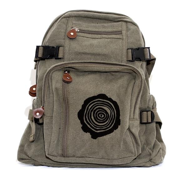 SALE Backpack Canvas Rucksack, Tree Rings, Hiking Backpack, Small Backpack, Hipster, Diaper Bag Backpack, Men's Backpack, Hiking, Men's Gift
