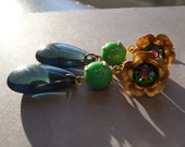 Blue and Green Flower Dangle Earrings