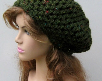 Thick slouchy hat, loden green Slouchy Beanie, Hippie small tam hat, woman beanie, man slouch beanie, slouchy hat, beanie, winter hat