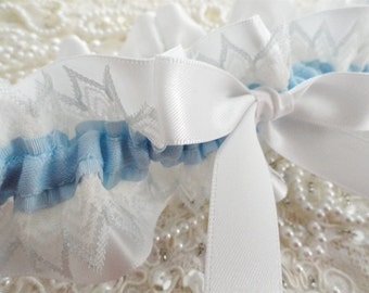 Bridal Blue and Pale Blue Tipped  Lace White Satin Garter-1