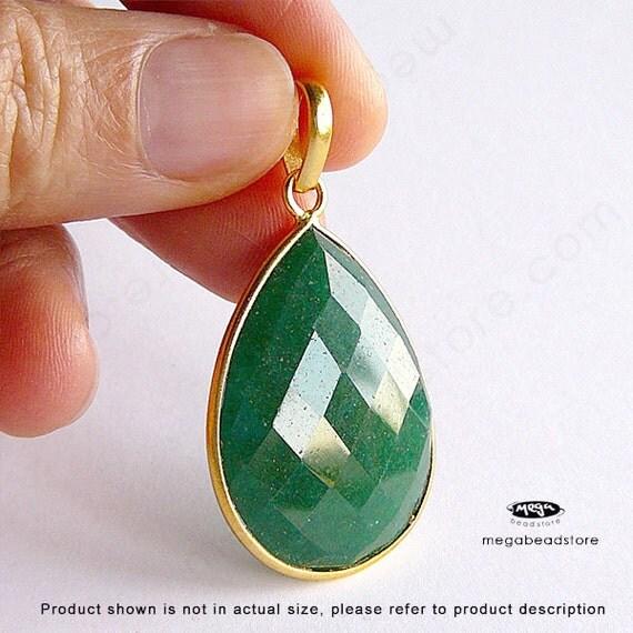 40mm Large Pendant Emerald Green (dyed) Gold Bezel Gemstone F416- 1 pc