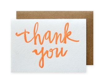 Thank You Brush Letterpress Card