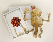 Festive New Years Robot Paper Puppet Toy - crankbunny