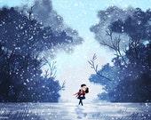"Romantic Art, Wall Art, Winter Art, Couples Gift - ""My Hero"""