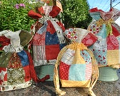 PDF Christmas sewing project  Patchwork Drawstring Bag PATTERN, Mini charm and Scrap friendly, Mini Charm Drawstring Bag