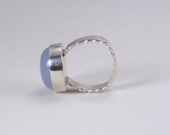 Blue Chalcedony Ring. Carved Silver Band, Blue Gemstone Ring, Natural Stone Ring, Sterling Silver, Gemstone Jewelry, Silver Ring,Quartz Ring