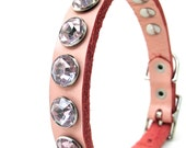 Pink Crystals on Leather Dog Collar, Size XS, Extra Small Dog, to fit a 8-11in Neck, Eco Friendly