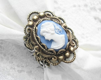 Cornflower Blue Victorian Style Antiqued Brass Ring