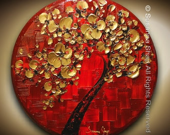 ORIGINAL Art Gold Red Cherry Blossom Tree Painting Textured Landscape Abstract Palette Knife Modern Art by Susanna 24x24 CIRCLE