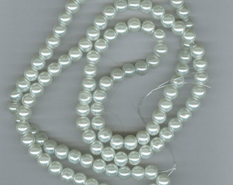8mm White Glass Pearl Round Beads