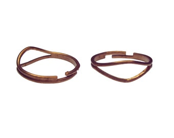5 x VINTAGE Copper Plated Adjustable Ring Blanks, new old stock