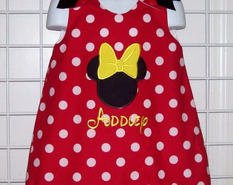 Red Polka Dot Mnnie Mouse Applique with Monogram A-line Dress with Yellow Ric Rac Trim