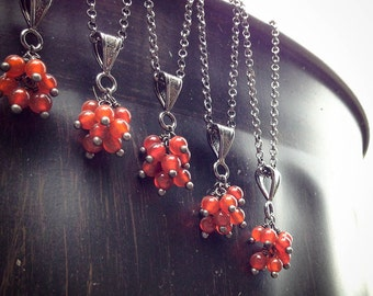 Bridesmaid Traditional Cluster Necklaces - 5 Genuine Stone and Gunmetal Necklaces
