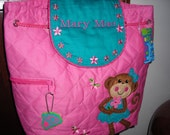 Personalized Stephen Joseph Quilted Back Pack Girl Monkey by Never Felt Better