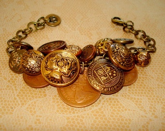 Vintage Metal Buttons with English Coins, Bracelet