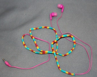 Hand Woven Pink Headphones with Mixed Color Combination Wrap