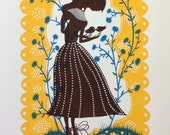 Bird Lady Screen Print ( Yellow/Brown and Blue)
