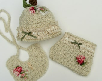 Crochet Hat Pattern - Apple Hat - 3 Piece Set - Crochet Diaper Cover Hat Bib - Baby Pattern No. 65