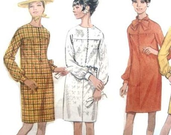 Vintage 60s Butterick Mod Dress Sewing Pattern 38 Bust Long Sleeve Gathered At Cuffs Mad Men Era