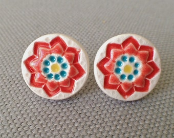 starflower post earrings, blood orange and ocean ... porcelain jewelry by Sofia Masri