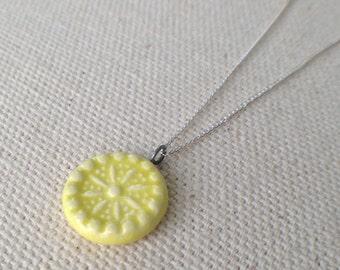 carnival necklace, chartreuse ... handmade porcelain jewelry by Sofia Masri