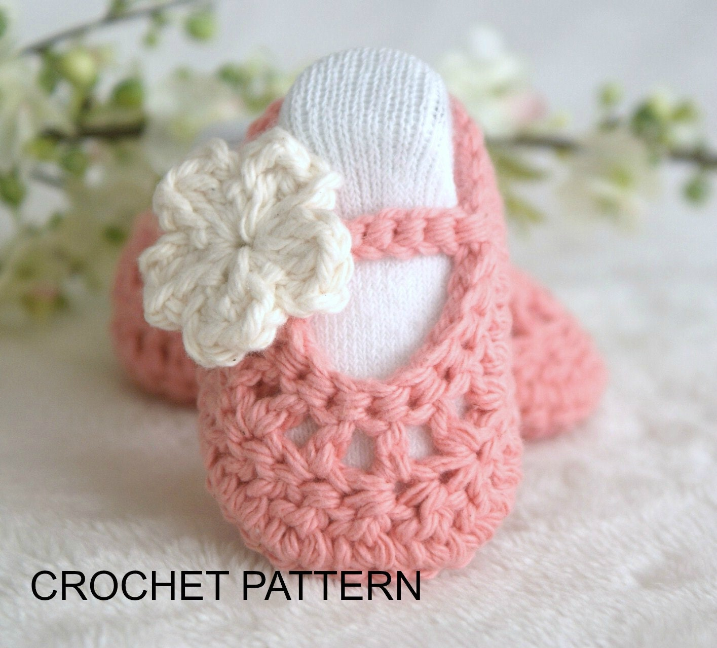 Free Crochet Patterns Baby Booties Mary Janes : Instant DOWNLOAD PDF Crochet Baby Booties PATTERN